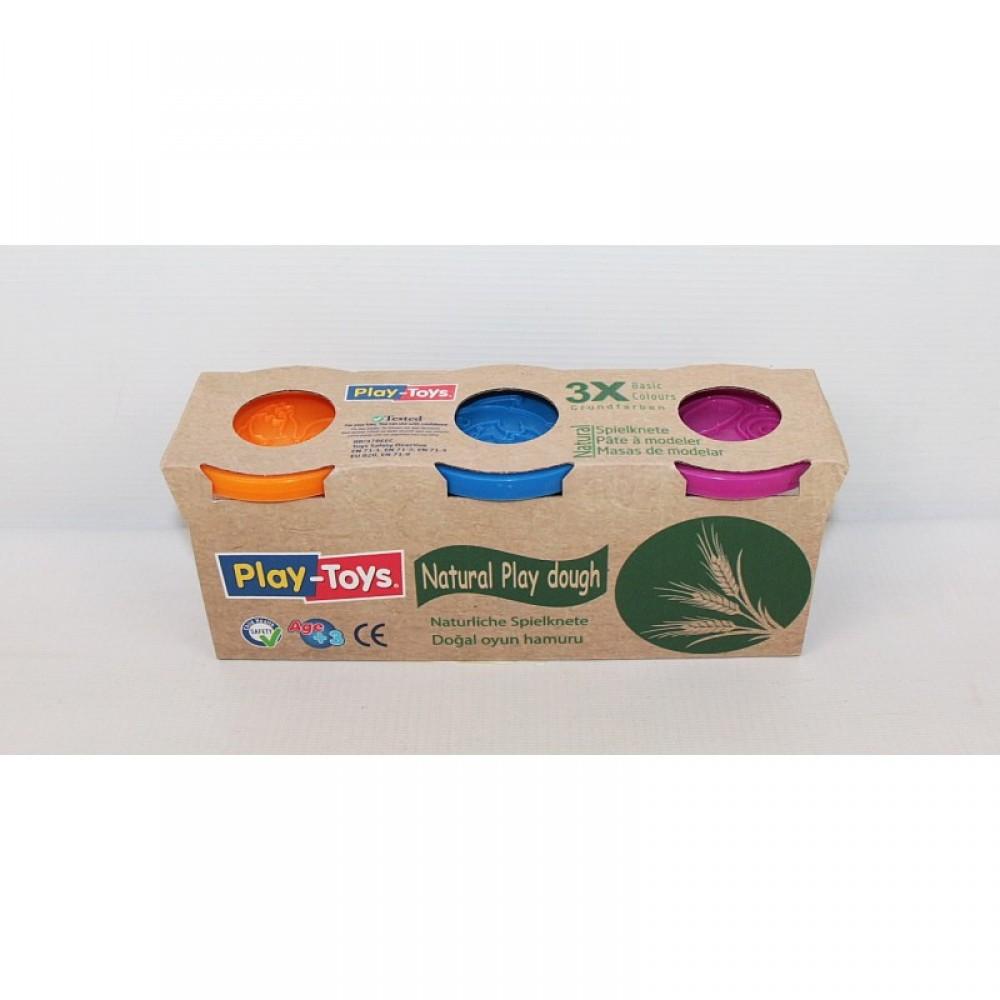 SALE Тесто для лепки 3 цвета в банках PLAY-TOYS