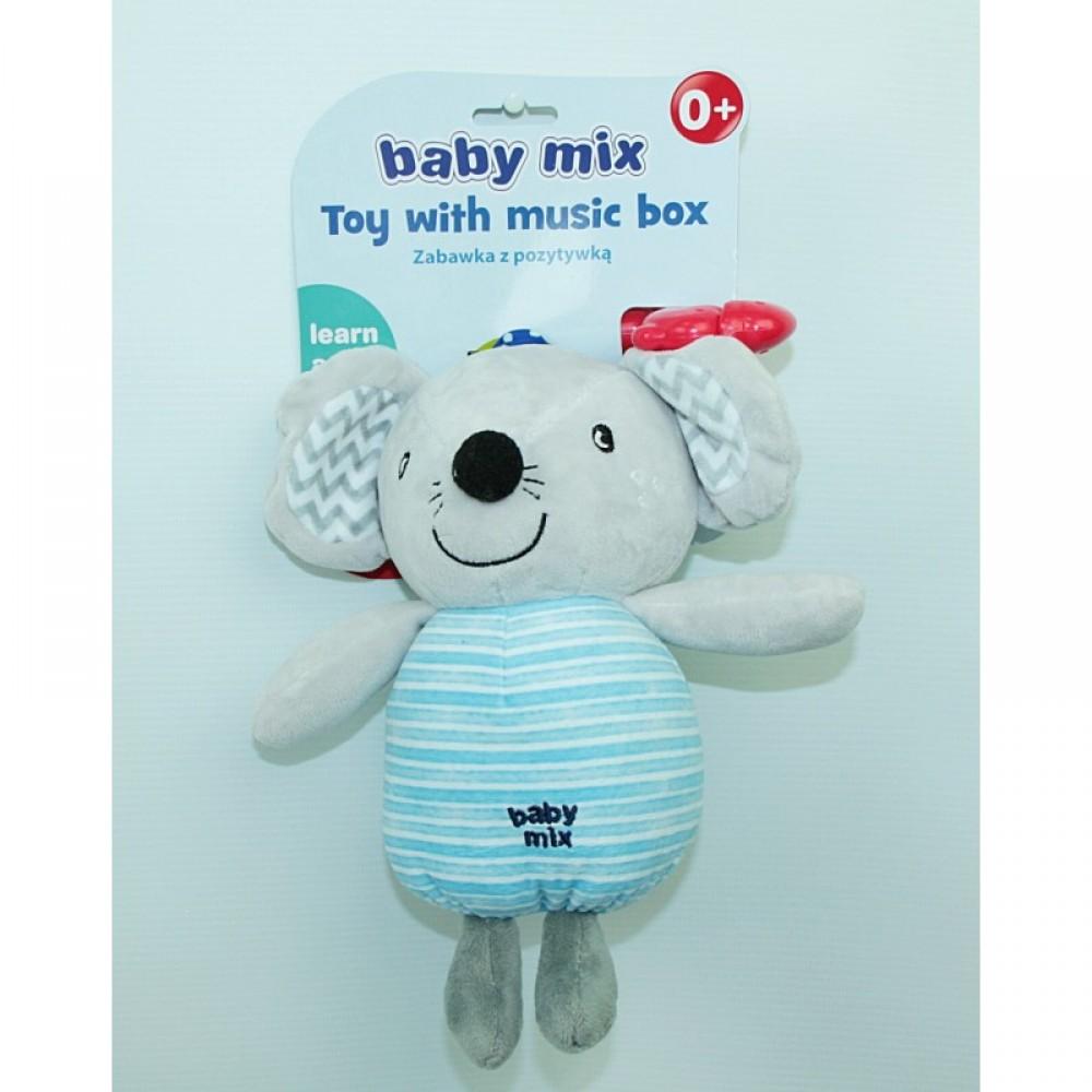 "BABY MIX Подвеска на клипсе плюшевая ""Мишка"", муз."