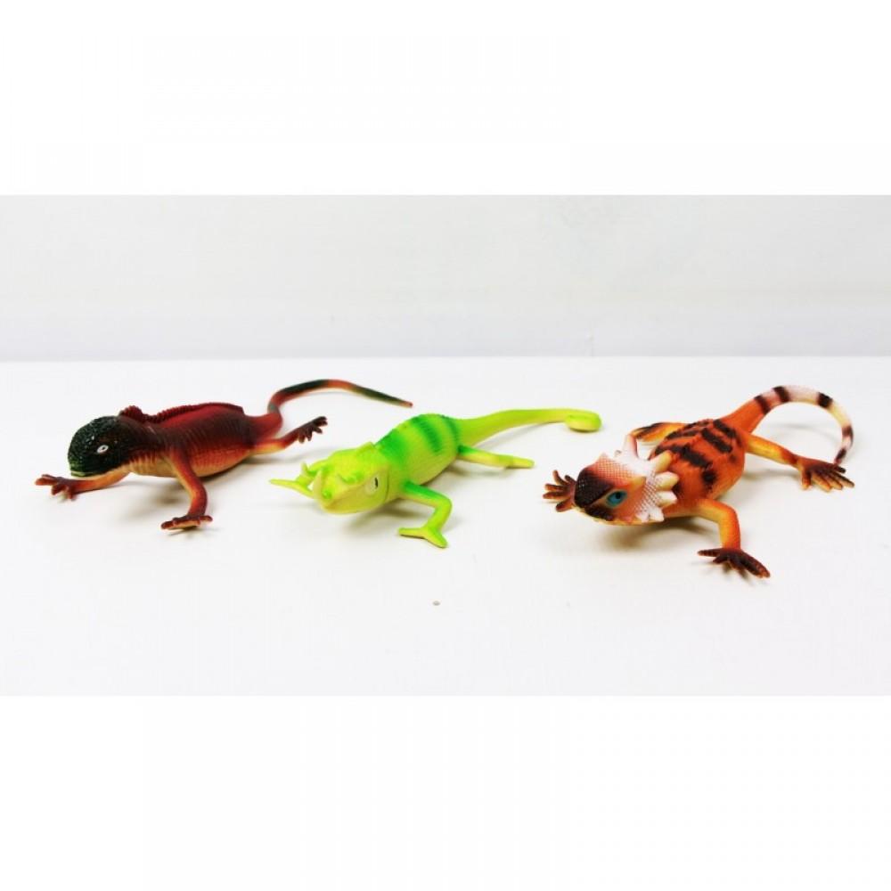 Животные ящерица резиновая 24 шт. в коробке