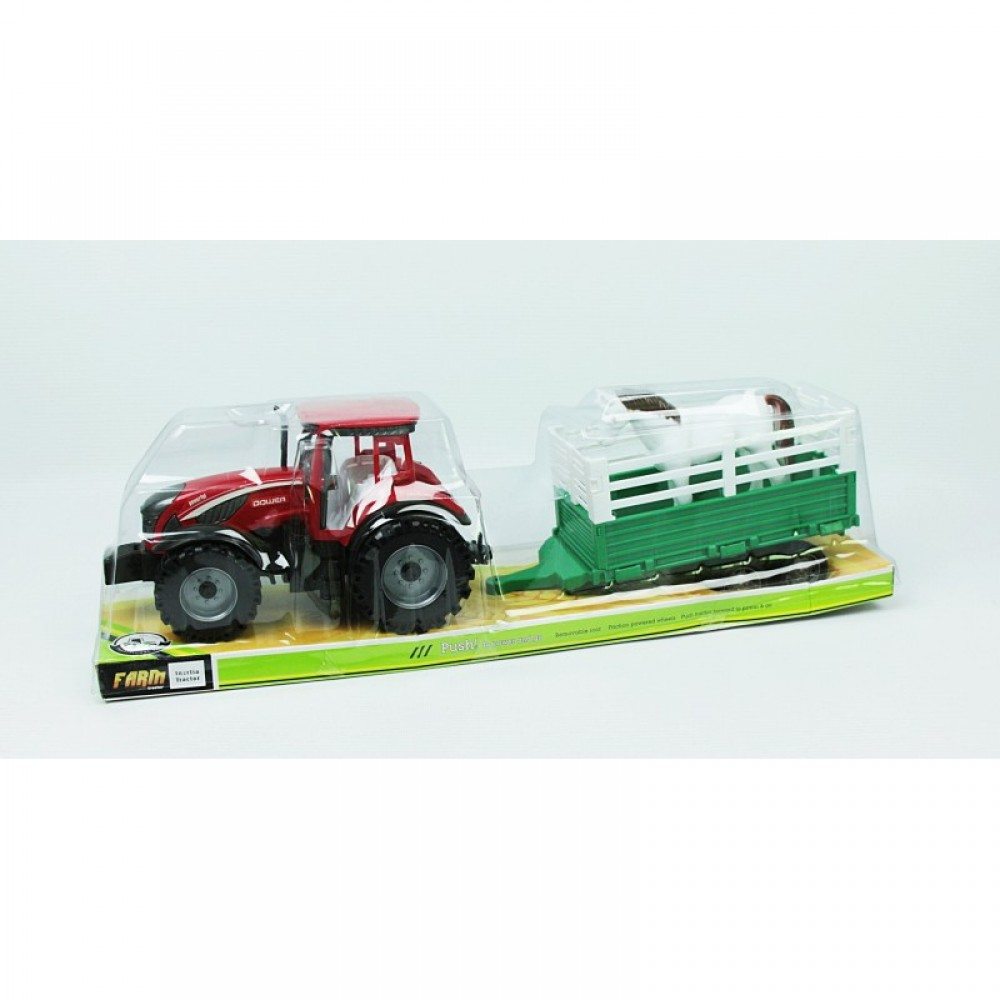 Трактор с прицепом под слюдой
