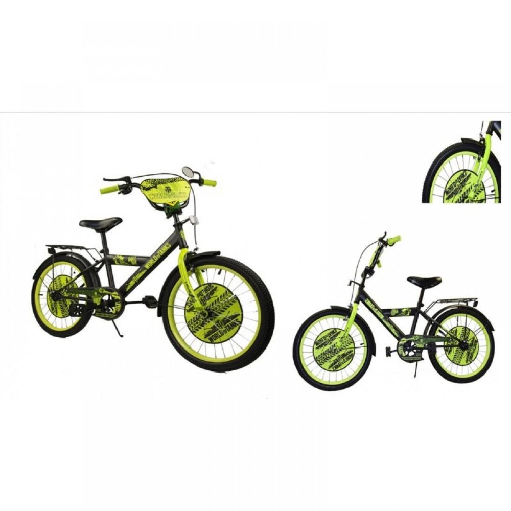 """Велосипед """"WORLD of TANKS"""" чёрный с салатовым 18"""""""