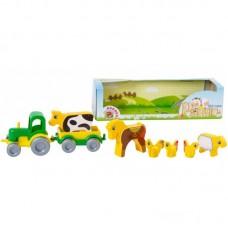 WADER Трактор с прицепом и животными в коробке