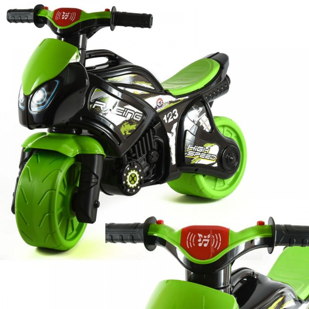 Мотоцикл чорно-зелёный муз. в кульке