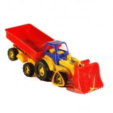 Трактор с ковшем и прицепом