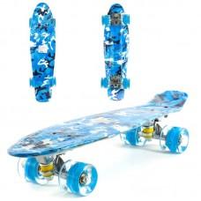 Скейт пенни с двухсторонний принт, колеса светятся ПУ
