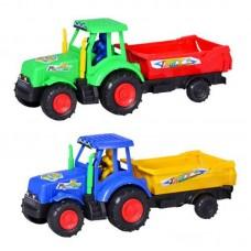 Заводная игрушка трактор, с прицепом, 2 цвета, в к